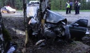"""Водитель """"Лады Приоры"""" не справился с управлением и влетел в дерево"""